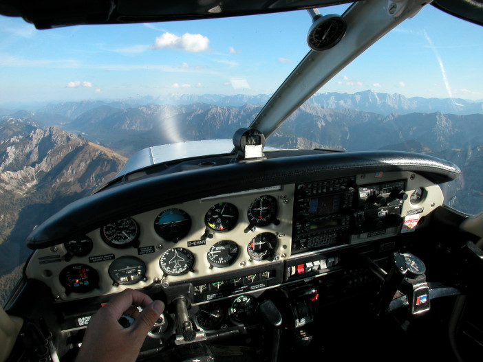 Piper Cherokee Warrior in flight over Bavarian Alps, 2007